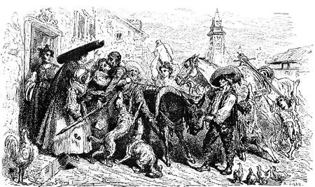 don quijote: El maltrecho don llega a su casa-Esta foto es de Don Quijote, Edoardo Perino, la edici�n italiana publicada en 1888, Italia-Rome.The grabado se hace por Gustave Dor�. Editorial