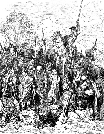 introduces: The Don introduces himself to the troop-This picture is from Don Quixote, Edoardo Perino, the Italian edition published in 1888, Italy-Rome.The engraving is made by Gustave Dore. Editorial
