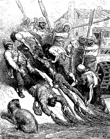 squire: The millers pull knight and squire out of the river-This picture is from Don Quixote, Edoardo Perino, the Italian edition published in 1888, Italy-Rome.The engraving is made by Gustave Dore.