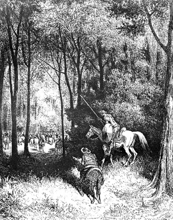 The Don and Sancho espy the noble fowling party-This picture is from Don Quixote, Edoardo Perino, the Italian edition published in 1888, Italy-Rome.The engraving is made by Gustave Dore.