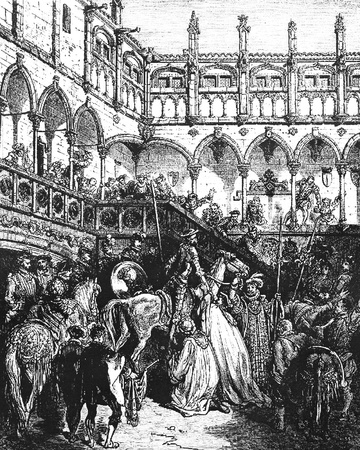 Don Quixote is welcomed at the palace of the Duke and Duchess-This picture is from Don Quixote, Edoardo Perino, the Italian edition published in 1888, Italy-Rome.The engraving is made by Gustave Dore. Editorial