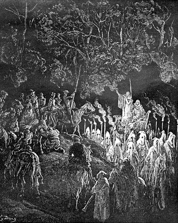 Merin, in the form of skeleton, tells Don he knows how to disenchant Dulcinea-This picture is from Don Quixote, Edoardo Perino, the Italian edition published in 1888, Italy-Rome.The engraving is made by Gustave Dore