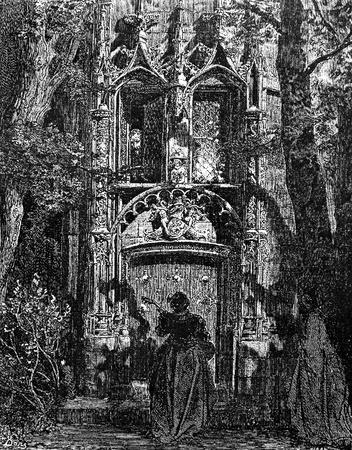 don quijote: El don es una serenata de Altisidora-Esta foto es de Don Quijote, Edoardo Perino, la edici�n italiana publicada en 1888, Italia-Rome.The grabado se hace por Gustave Dor�. Editorial