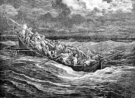 Zoraida and the captive in the escape boat-This picture is from Don Quixote, Edoardo Perino, the Italian edition published in 1888, Italy-Rome.The engraving is made by Gustave Dore.