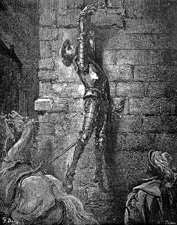 Maritornes leaves Don Quixote hanging from the window-This picture is from Don Quixote, Edoardo Perino, the Italian edition published in 1888, Italy-Rome.The engraving is made by Gustave Dore.