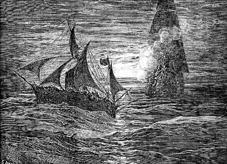 French corsairs fire upon the captive-This picture is from Don Quixote, Edoardo Perino, the Italian edition published in 1888, Italy-Rome.The engraving is made by Gustave Dore.