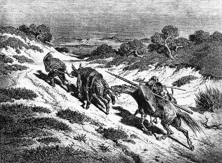 Leading the ass by the halter, he took the nearest way he could guess to the high road-This picture is from Don Quixote, Edoardo Perino, the Italian edition published in 1888, Italy-Rome.The engraving is made by Gustave Dore.