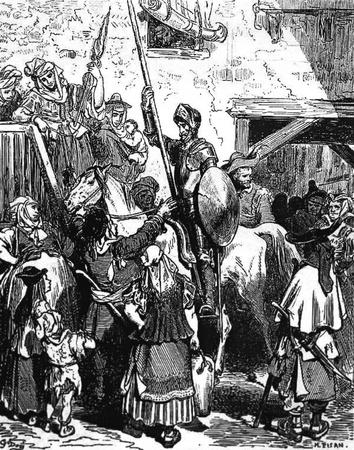 don quijote: El pago posadero peticiones para la noche-Esta foto es de Don Quijote, Edoardo Perino, la edici�n italiana publicada en 1888, Italia-Rome.The grabado est� hecho por Gustave Dor�. Editorial