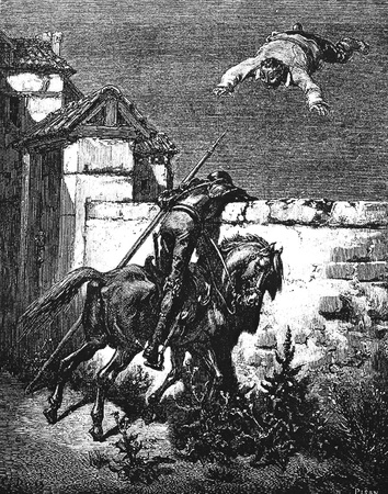 Don Quixote-This picture is from Don Quixote, Edoardo Perino, the Italian edition published in 1888, Italy-Rome.The engraving is made by Gustave Dore.