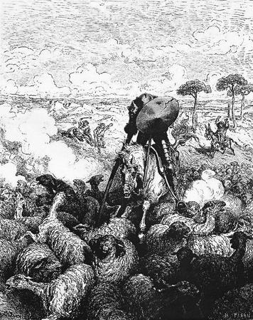 don quichotte: Le Don attaque le troupeau de moutons-Cette image est de Don Quichotte, Edoardo Perino, l'�dition italienne publi�e en 1888, l'Italie-Rome.The gravure est faite par Gustave Dor�.