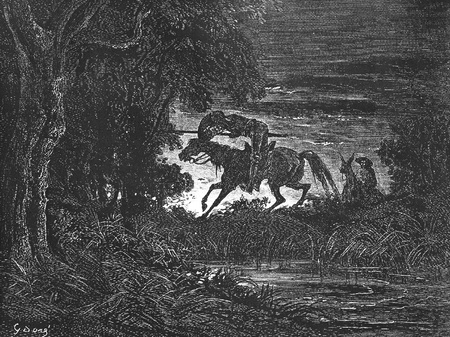 Don Quixote in the swamp-This picture is from Don Quixote, Edoardo Perino, the Italian edition published in 1888, Italy-Rome.The engraving is made by Gustave Dore.