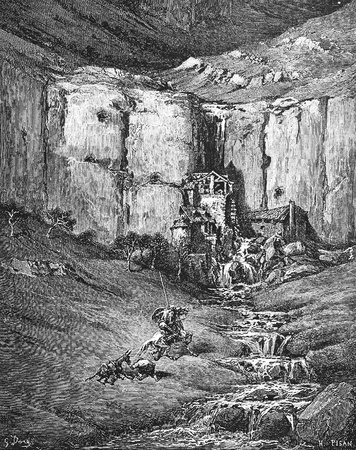 The waterfall and the noisy hovels-This picture is from Don Quixote, Edoardo Perino, the Italian edition published in 1888, Italy-Rome.The engraving is made by Gustave Dore.