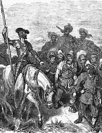 don quichotte: Don Quichotte interroge les criminels �tant conduit � l'gal�res-Cette image est de Don Quichotte, Edoardo Perino, l'�dition italienne publi�e en 1888, l'Italie-Rome.The gravure est faite par Gustave Dor�. �ditoriale