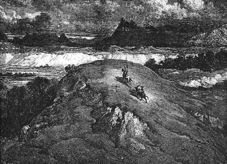 don quixote: Don and Sancho riding home-This picture is from Don Quixote, Edoardo Perino, the Italian edition published in 1888, Italy-Rome.The engraving is made by Gustave Dore.