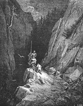 In the hearth of the Sierra Morena-This picture is from Don Quixote, Edoardo Perino, the Italian edition published in 1888, Italy-Rome.The engraving is made by Gustave Dore.