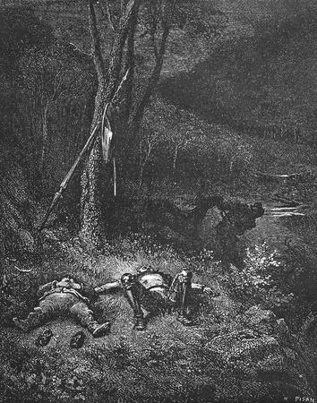 don quijote: Gin�s de Pasamonte roba el asno-Esta foto es de Don Quijote, Edoardo Perino, la edici�n italiana publicada en 1888, Italia-Roma.El grabado es hecho por Gustave Dor�. Editorial