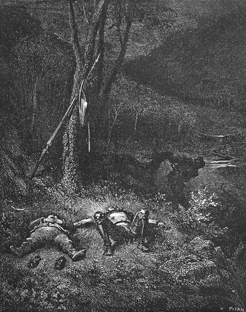 Gines de Pasamonte steals donkey-This picture is from Don Quixote, Edoardo Perino, the Italian edition published in 1888, Italy-Rome.The engraving is made by Gustave Dore.
