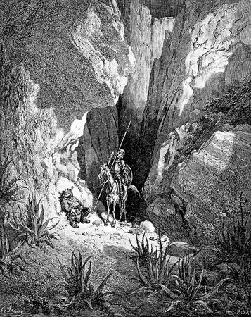 Don Quixote reads a sonnet from the little book found in the abandoned valise-This picture is from Don Quixote, Edoardo Perino, the Italian edition published in 1888, Italy-Rome.The engraving is made by Gustave Dore.