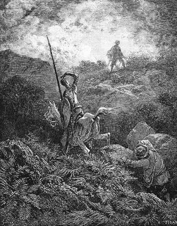 The travelers see a ragged man leaping among the rocks-This picture is from Don Quixote, Edoardo Perino, the Italian edition published in 1888, Italy-Rome.The engraving is made by Gustave Dore.