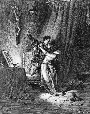 recounts: Dorotea recounts her secret engagement to Don Fernando-This picture is from Don Quixote, Edoardo Perino, the Italian edition published in 1888, Italy-Rome.The engraving is made by Gustave Dore.