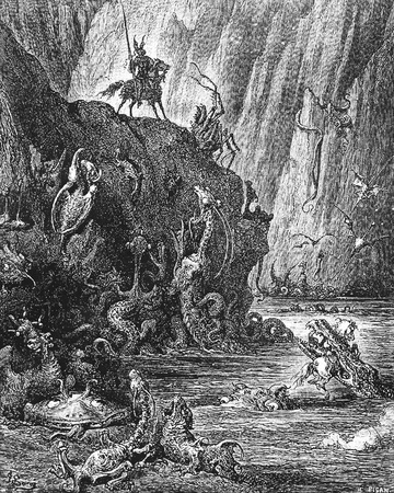 gruesome: A knight comes to a lake of boiling pitch inhabited by gruesome monsters-This picture is from Don Quixote, Edoardo Perino, the Italian edition published in 1888, Italy-Rome.The engraving is made by Gustave Dore.