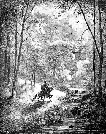 After plunging into the boiling lake, the knight finds himself in a lovely countryside-This picture is from Don Quixote, Edoardo Perino, the Italian edition published in 1888, Italy-Rome.The engraving is made by Gustave Dore.