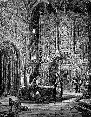 The knight arrives at a castle and hears the story of its enchantment-This picture is from Don Quixote, Edoardo Perino, the Italian edition published in 1888, Italy-Rome.The engraving is made by Gustave Dore.