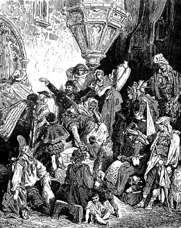 don quijote: En el cabrero-Esta foto es de Don Quijote, Edoardo Perino, la edici�n italiana publicada en 1888, Italia-Rome.The grabado est� hecho por Gustave Dor�.