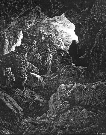 The runaway Lendra is discovered in a cave-This picture is from Don Quixote, Edoardo Perino, the Italian edition published in 1888, Italy-Rome.The engraving is made by Gustave Dore.