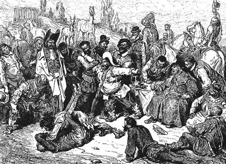 don quichotte: Don Quichotte se trouvant libre Cette image est de Don Quichotte, Edoardo Perino, l'�dition italienne publi�e en 1888, l'Italie-Rome.The gravure est faite par Gustave Dor�.
