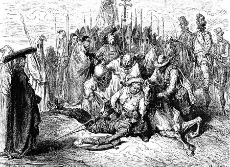 don quichotte: Le combat de Don Quichotte Cette image est de Don Quichotte, Edoardo Perino, l'�dition italienne publi�e en 1888, l'Italie-Rome.The gravure est faite par Gustave Dor�.