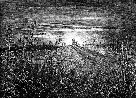 don quichotte: Don Quichotte et Sancho Panza aller � la noce Cette image est de Don Quichotte, Edoardo Perino, l'�dition italienne publi�e en 1888, l'Italie-Rome.The gravure est faite par Gustave Dor�.