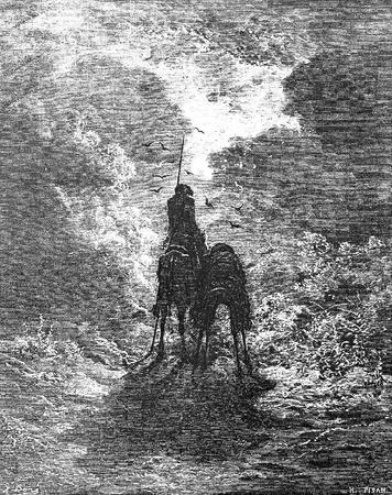 don quijote: Sancho dice c�mo su burro fue robada de debajo de �l en la Sierra Morena-Esta foto es de Don Quijote, Edoardo Perino, la edici�n italiana publicada en 1888, Italia-Rome.The grabado se hace por Gustave Dor�.