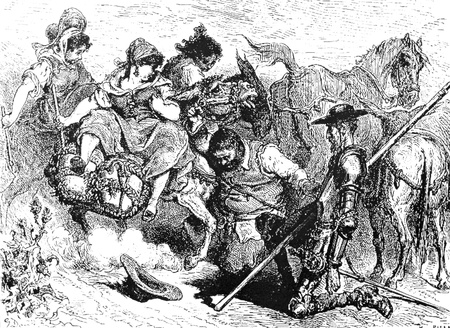 Sancho and Don Quijote with the three village girls-This picture is from Don Quixote, Edoardo Perino, the Italian edition published in 1888, Italy-Rome.The engraving is made by Gustave Dore. Editorial