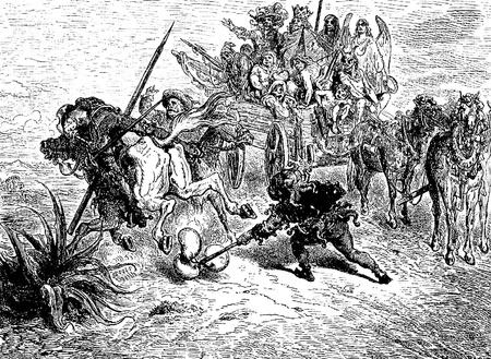 don quichotte: Le d�mon de la vessie gonfl�e-Cette image est de Don Quichotte, Edoardo Perino, l'�dition italienne publi�e en 1888, l'Italie-Rome.The gravure est faite par Gustave Dor�.