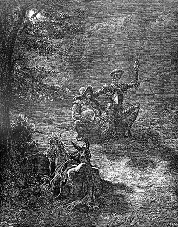 Sancho and the Don indulge in philosophical reflections-This picture is from Don Quixote, Edoardo Perino, the Italian edition published in 1888, Italy-Rome.The engraving is made by Gustave Dore.