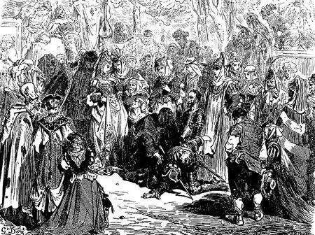 don quichotte: Puis ils se tourn�rent tous vers Chilteria-Cette image est de Don Quichotte, Edoardo Perino, l'�dition italienne publi�e en 1888, l'Italie-Rome.The gravure est faite par Gustave Dor�.