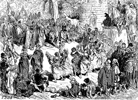 don quichotte: Une danse artistique de la sorte qu'ils appellent parlant des danses-Cette image est de Don Quichotte, Edoardo Perino, l'�dition italienne publi�e en 1888, l'Italie-Rome.The gravure est faite par Gustave Dor�. �ditoriale