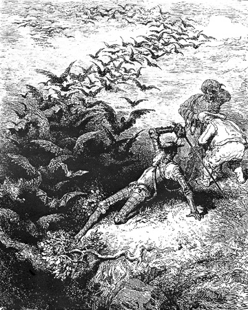 Ravens and bats swarm as Don Quixote hacks a passage into the cave of Montesions-This picture is from Don Quixote, Edoardo Perino, the Italian edition published in 1888, Italy-Rome.The engraving is made by Gustave Dore. Editorial