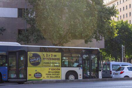 Palma de Mallorca, Spain September 11, 2019: Public transport bus of the EMT, municipal transport company of Palma de Mallorca. Stock Photo