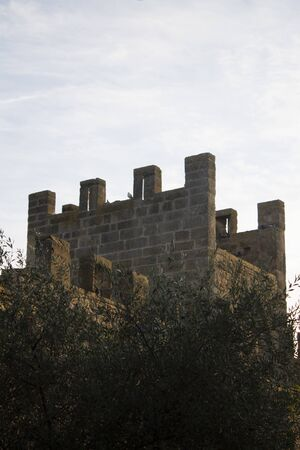 Alcudia wall, view from the terrace. Ancient wall.