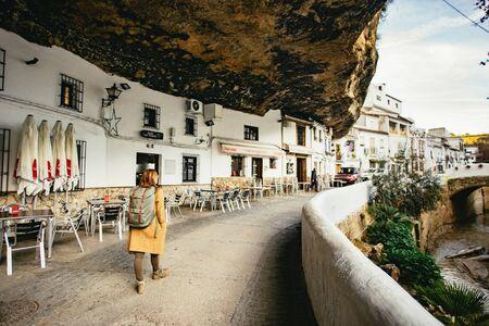 Female sightseeing in Setenil de las Bodegas