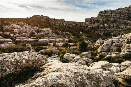 Interesting karst landscape in El Torcal de Antequera, Andalusia, Spain with exposed eroded limestone rock strata