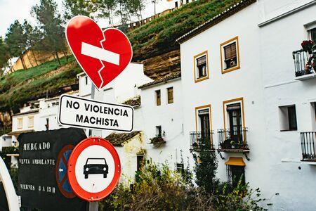 Unusual No Male Violence street sign with heart 版權商用圖片