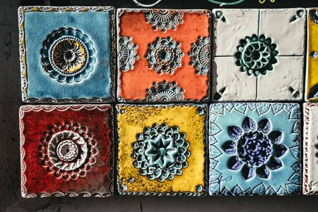 Brightly colored hand made ceramic tiles
