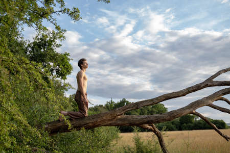 Side view of shirtless man kneeling on log against cloudy sky in forest Banque d'images