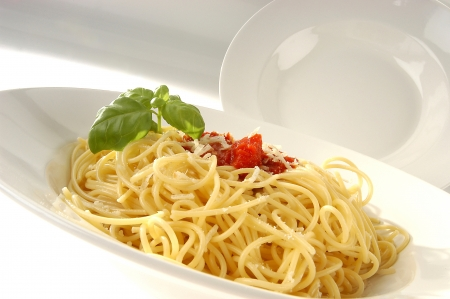 Pasta dishes - spaghetti with tomato sauce and basil photo