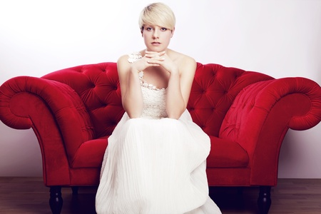 awesome young short haired blonde girl with bridal dress Stock Photo - 14429055