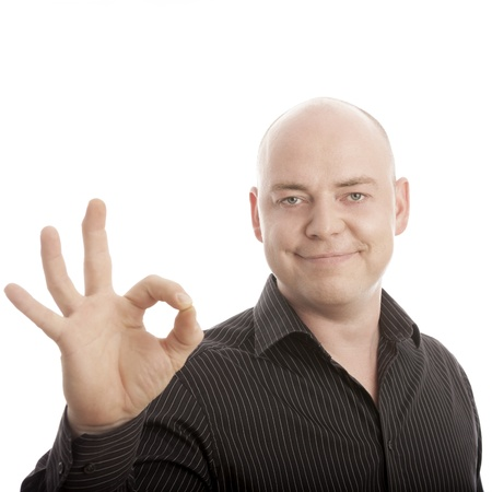 bald man sign perfect and smiling Stock Photo