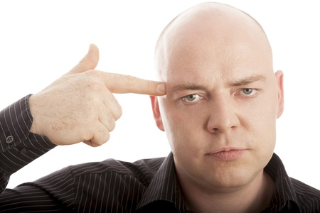 bald man with finger shoot in head photo